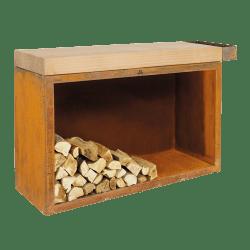 Stor opbevaring med skærebræt I brun