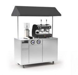 Kaffebod i stål med tag - måler 1500x750x1980