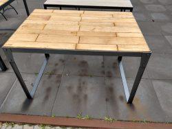 Massiv bordplade med metal stel 120x80 cm
